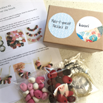 Make it yourself necklace gift kit- handcrafted polymer clay beads in pink tones