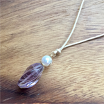 14k gold filled wire wrapped pendant- lilac fluorite and pearl