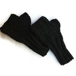 Knit fingerless mittens Superfine Merino
