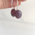 Purple Fused Glass Hoop Earrings