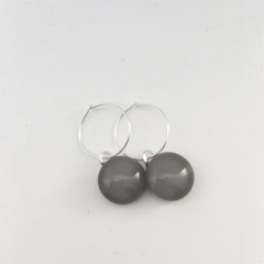Grey Fused Glass Hoop Earrings