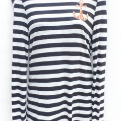 Anchor Me - Ladies L/S Striped Tee