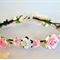 Flower Crown: Pink and ivory flowers with Ivory ribbon.