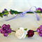 Flower Crown: Purples, reds and ivory with ivory ribbon.