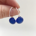 Blue Fused Glass Hoop Earrings