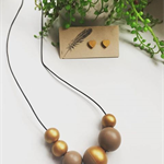 Wooden Beaded Necklace  Hand Painted  'Latte & Gold'