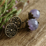 "Boho Chic ""Purple Mist"" Victorian Amethyst Rustic Beaded Stud Earrings"