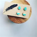 2 Sets of Hand Painted Wooden Earrings in 'Mint' Hypoallergenic