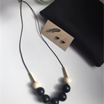 Wooden Beaded Necklace  Hand Painted  'Black & Natural'