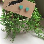 Hand Painted Wooden Heart Earrings in 'Mint' Hypoallergenic