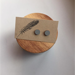 Hand Painted Wooden Round Earrings in Grey Hypoallergenic Studs