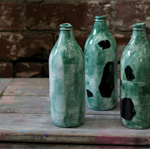 Ceramic Bottle with Textured Surface, Green and Green+Black