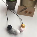 Wooden Beaded Necklace - Hand Painted