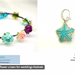 Flower Crown: Purples, ivory and aqua with ivory ribbon.