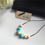 Wooden Beaded Necklace  Hand Painted  'Mint & Natural'