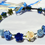 Flower Crown: Blues and Ivory flowers with blue / ivory ribbon.