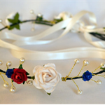 Flower Crown: Red, white and blue with ivory ribbon.