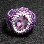 Statement Beaded Ring Floral Pattern Glass Cabochon