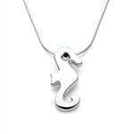 Seahorse - Handmade Sterling Silver and Amethyst Pendant with Snake Chain