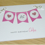 Personalised Age Birthday card - pink blue purple- any age