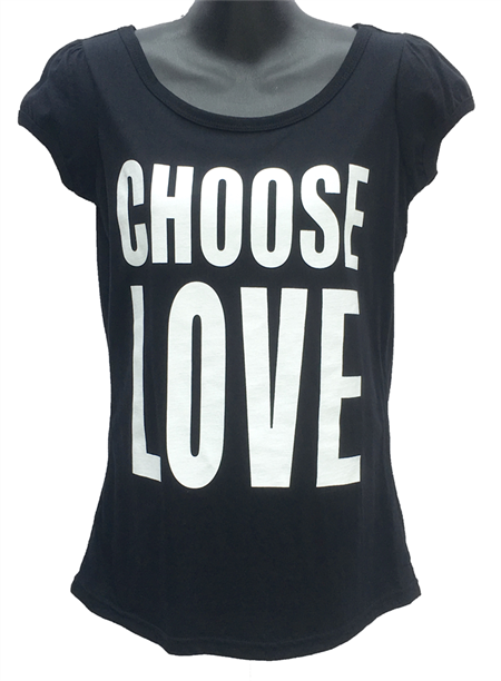 Choose Love - Ladies Puff Sleeve Tee Black