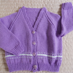 SIZE 3-4 yrs - cardigan, Purple & White: acrylic, washable, warm