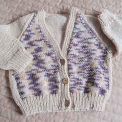 Size 6-12 mths hand knitted cardigan in Creams/browns by CuddleCorner