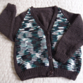 SIZE 3-4 yrs -cardigan in Brown & multi colour: OOAK Acrylic, Washable