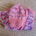 SIZE 3-4 years - knitted cardigan and 2 beanies in Pinks & Purple