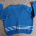 Size 3-4 yrs - cardigan in blue & white by CuddleCorner: washable, easy care