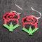 Red and Black Roses Beaded Earrings