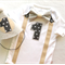 Baby Boys Classic Tan, Grey & Charcoal 1st Birthday Onesie and Party Hat.