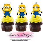 Minions Edible Wafer Stand-Up Cupcake Toppers - Set of 16