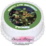 Teenage Mutant Ninja Turtle Personalised Edible Round Cake Topper - PRE-CUT