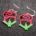 Red and Black Roses Beaded Earrings