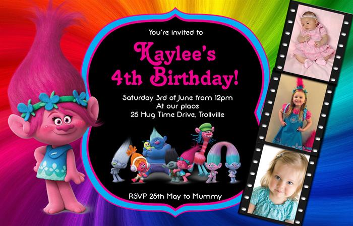 Trolls Poppy Custom Birthday Party Photo Invitation Kids Invite