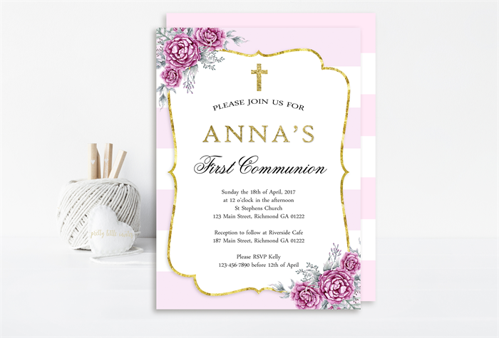 photograph about Printable First Communion Invitation identified as Printable Lavender and White Floral Ladies Initially Communion