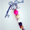 FREE POST key ring with hot pink, black and copper accent,  key chain, bag charm