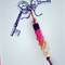 colourful key ring with ombre pink, black and gold accent, key chain, bag charm