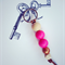 colourful key ring with hot pink and copper accent, key chain, bag charm