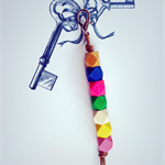 colourful key ring with rainbow accent, key chain, bag charm