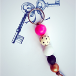 colourful key ring with hot pink, black and copper accent,  key chain, bag charm