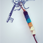 colourful key ring with ombre blue and gold accent, key chain, bag charm