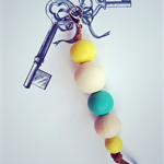 colourful key ring with blue and yellow accent, key chain, bag charm