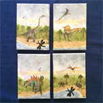 Four 'Dinosaurs in a Swamp' Mixed Media Canvases