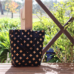 Black & Gold Cross Canvas Tote / Shopping Bag