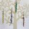 Long seed beads dangle chain style earrings (Inside Yellow, Purple, Red, Green)