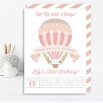 Girls Pink Hot Air Balloon Printable Invitation