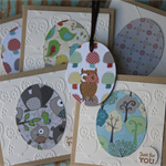 5 Woodland Cards ~ Woodland Creatures Owls Mushrooms Birds Trees Christmas Gift