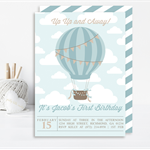 Boys Vintage Hot Air Balloon Printable Invitation